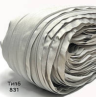 Молния спиральная Тип5 Бледно серый Меланж рулонная 200м