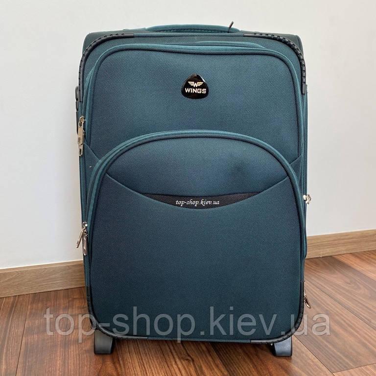 Дорожний чемодан тканевый Wings на 2 колесах 35 л маленький зеленый