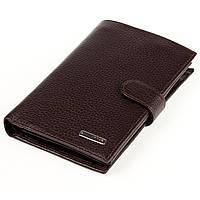Мужское портмоне Karya 0498-39 с отделением для паспорта кожаное коричневое