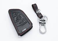 """Оригинальный кожаный чехол футляр для ключа BMW """"X6 3 кнопки"""", цвет Черный с красн строчкой"""