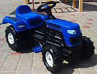 Синий трактор педальный синий DOLU Турция сидение регулируемое колеса с протектором и сигнал на руле от 3 лет