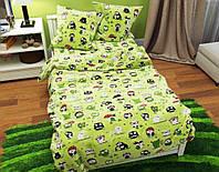 Качественное и милое детское постельное белье полуторка, совы на зеленом
