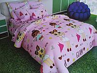 Качественное детское постельное белье полуторка для девочки, розовая лол