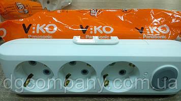 Колодка Viko multilet на 3 гнізда з заземленням з кнопкою