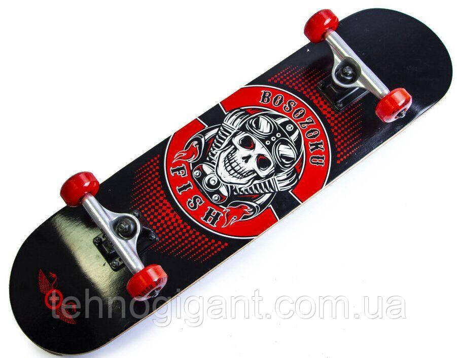 Скейт деревянный, Скейтборд, натуральный канадский клен, для трюков, Fish Skateboards,Красный Череп, премиум!