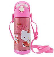 Термос детский с поилкой и шнурком на шею Disney 603 350 мл Hello Kitty Розовый
