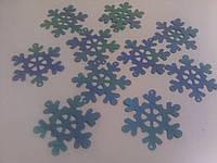 Снежинки паетки голубой перламутр, 4 см, фото 1