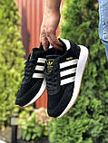 Мужские кроссовки Adidas Iniki черные с белым, фото 2