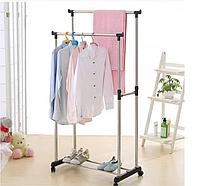 Универсальная прочная Двойная напольная передвижная стойка для одежды Double-Pole.