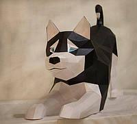 Полигональная скульптура Хаски 3D из картона №1, фото 1