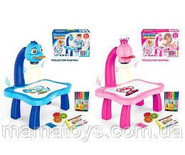 Детский Проектор для рисования YM6776-6886 , музыка, свет,слайды (24 картинки), фломастеры 12 шт, 2 вида, бат,