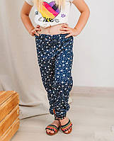 Детские летние штанишки для девочки Paty Kids цветочки темно-синий 31703