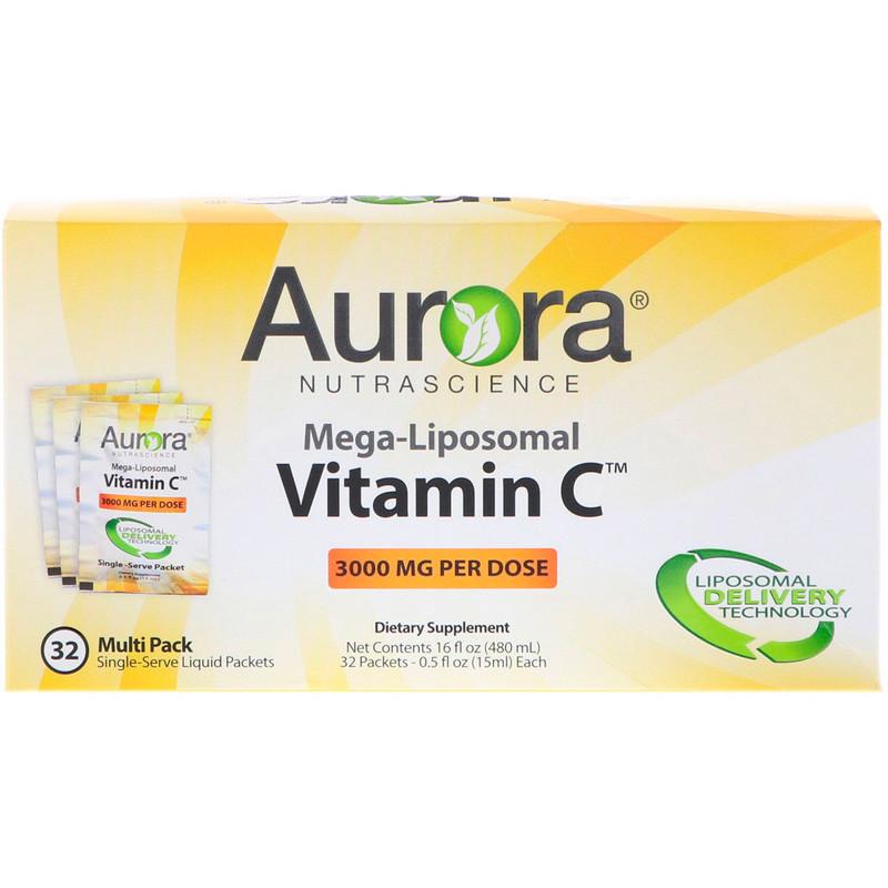Мега-липосомальный вітамін С, 3000 мг, 32 порційних упаковок, 15 мл