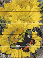 "Картина за номерами на дереві ""Метелик на квітах"" 30*40 см"