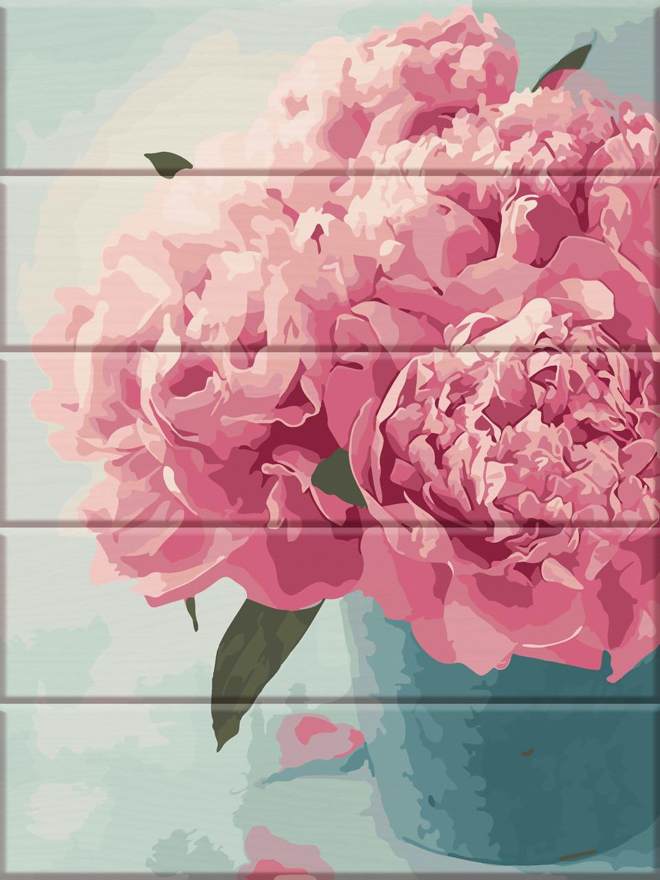 """Картина по номерам на дереве """"Розовые пионы"""" 30*40 см"""