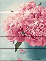 """Картина по номерам на дереве """"Розовые пионы"""" 30*40 см, фото 1"""