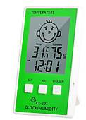 Цифровой термометр-гигрометр часы для детской комнаты, зеленый