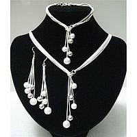 Комплект украшений серьги, цепочка и браслет, покрытые серебром код 1914, фото 1
