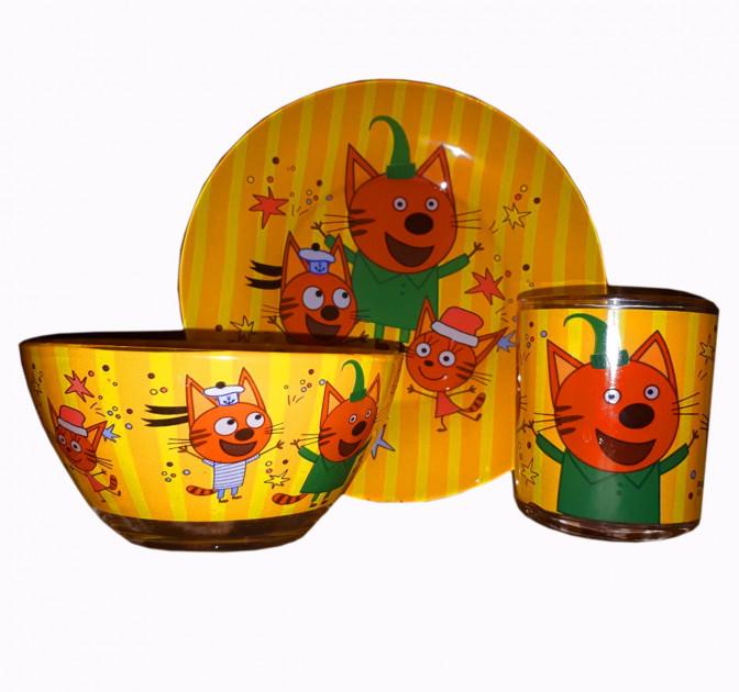 Детская стеклянная посуда Три кота / Детский набор посуды с котами