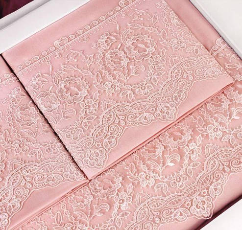 Комплект постельного белья Tivolyo Home ELEGANT семейный (2 пододеяльника), розовый, фото 2