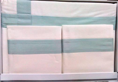 Комплект постельного белья Tivolyo Home BANDA двуспальный - евро, Белый, фото 2