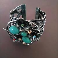 Браслет Бирюза широкий скобка металл Три Камня и цветы ажурные со стразами