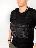 Нагрудная сумка Intruder серый камуфляж, фото 1