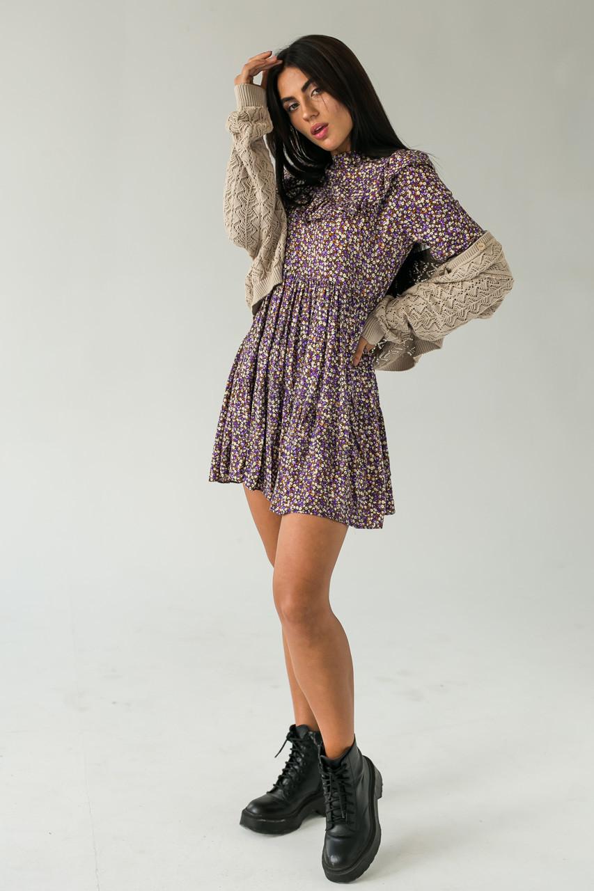 Платье с рюшами в мелкий цветочный принт Crep - фиолетовый цвет, S (есть размеры)