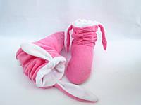 Мягкие тапочки-сапожки из флиса=Зайки=комфортно и тепло,розовые