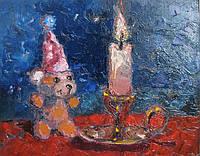 Картина для детской комнаты Мишка и свеча. Подарок ребенку на День рождения.