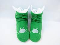 Милые тапочки-сапожки из флиса=Котики=тепло и комфортно, фабричные, зеленые