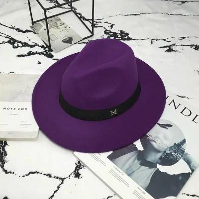 Шляпа женская фетровая Федора с устойчивыми полями и лентой фиолетовая