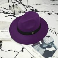 Шляпа женская фетровая Федора с устойчивыми полями и лентой фиолетовая, фото 1