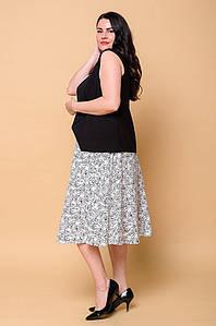 Костюм женский жилетка и юбка бело-черный 2978