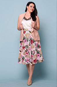 Костюм женский жилетка и юбка розовый 2978