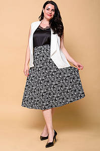 Костюм женский жилетка и юбка черно-белый 2978