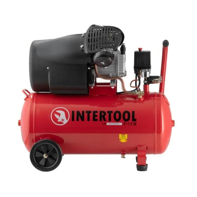 Компрессор  INTERTOOL PT-0004 50 л, 2.23 кВт, 220 В, 8 атм, 354 л/мин, 2 цилиндра