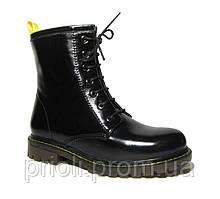 Женские зимние ботинки на каблуке в стиле Martens наплак 36 37 38 39 40 41 размер