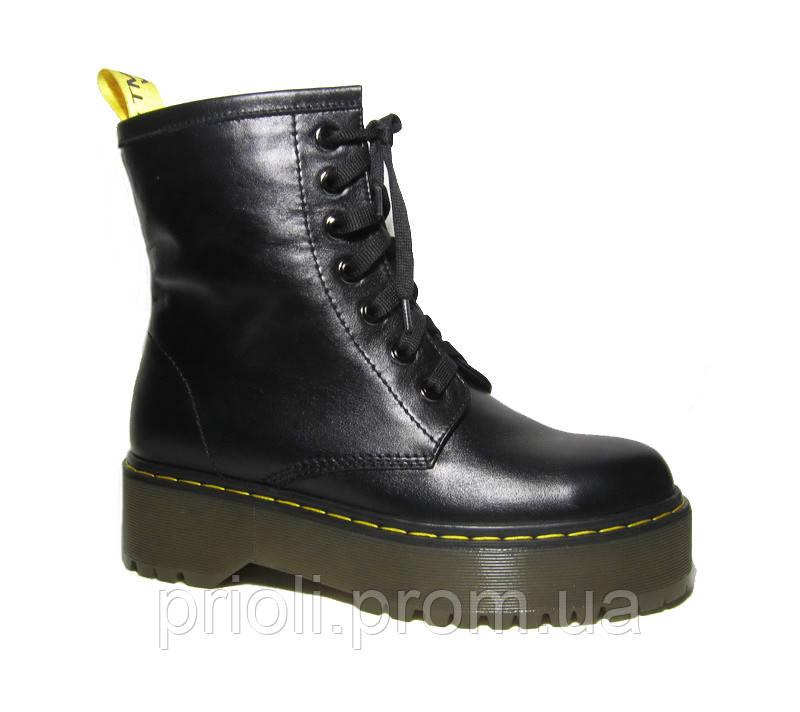 Женские зимние ботинки на платформе в стиле Martens кожа 36 37 38 39 40 41 размер