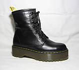 Женские зимние ботинки на платформе в стиле Martens кожа 36 37 38 39 40 41 размер, фото 2