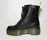 Женские зимние ботинки на платформе в стиле Martens кожа 36 37 38 39 40 41 размер, фото 4