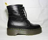 Женские зимние ботинки на платформе в стиле Martens кожа 36 37 38 39 40 41 размер, фото 3