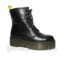 Женские осенние ботинки на платформе в стиле Martens кожа 36 37 38 39 40 41 размер