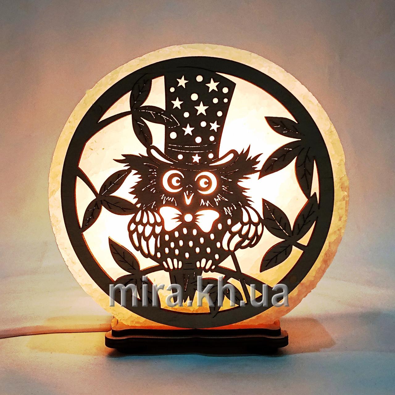 Соляной светильник круглый Сова в шляпе