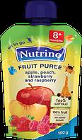 """Фруктовое пюре из яблок, персиков, клубники и малины 100 г в мягкой упаковке ТМ """"NUTRINO"""" с 8 месяцев."""