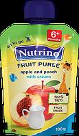 """Фруктовое пюре из яблок, персиков и сливок 100 г в мягкой упаковке ТМ """"NUTRINO"""" с 6 месяцев."""