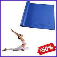 Гимнастический коврик йога мат SportVida Pvc 4 мм SV-HK0051 Blue для фитнеса, йоги, пилатеса и аэробики