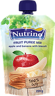 """Фруктовое пюре микс из яблок, банана и печенья 220 г в мягкой упаковке ТМ """"NUTRINO"""" с 6 месяцев."""