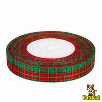 Лента Шотландка 1.8 см красно-зеленая в клетку 5 м/моток