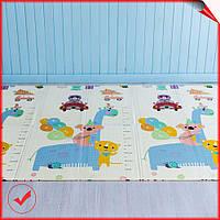 Детский складной двусторонний развивающий термо коврик для игр и ползания с ростомером 2*1,5 м
